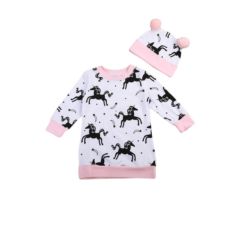 Flying Unicorn Pink Sweater With Matching Headband - Sweaters & Hoodies - baby-petite