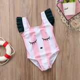 Bat Your Lashes Pink Striped Swimsuit - Swimsuits - baby-petite