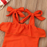 Burnt Orange Bow Ruffle Swimsuit - Kids Petite - Baby & Kids Clothing