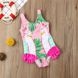 Polly Pink Parrot Ruffle Swimsuit - Swimsuits - baby-petite