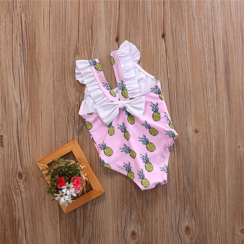 Sweet Pineapple Pink Bow Swimsuit - Swimsuits - baby-petite