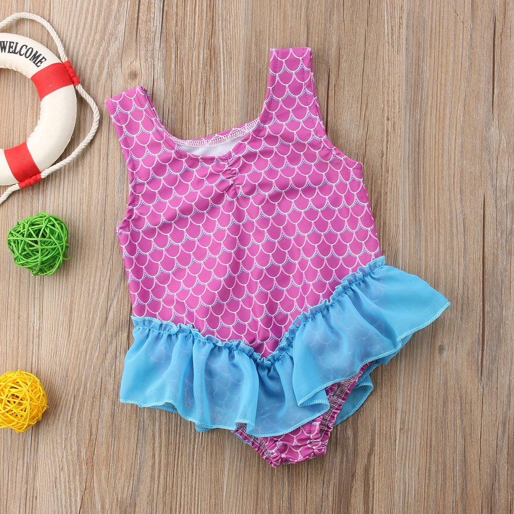 Purple Scale Blue Tulle Swimsuit - Swimsuits - baby-petite