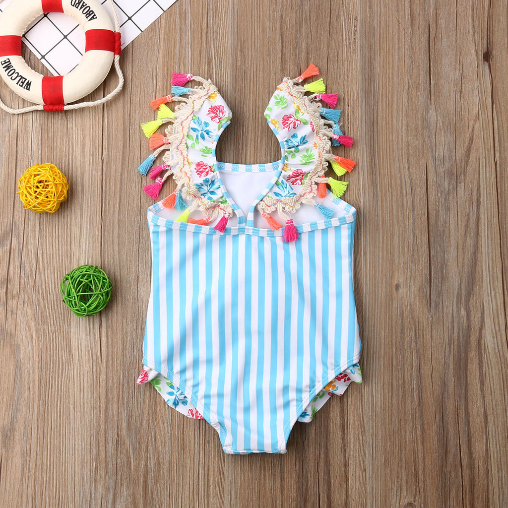 Tropical Flamingo Tassel Swimsuit - Swimsuits - baby-petite