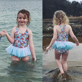 Carrie Floral Blue Tulle Swimsuit - Swimsuits - baby-petite