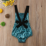 Turquoise Metallic Scale Cross Back Swimsuit -  - baby-petite