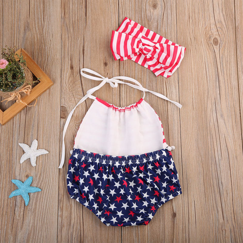 Swimmin' In America Swimsuit With Matching Headband - Swimsuits - baby-petite