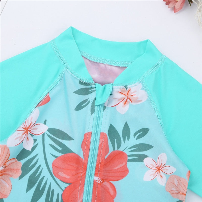 Summer Sea Floral Long Sleeve Swimsuit - Swimsuits - baby-petite