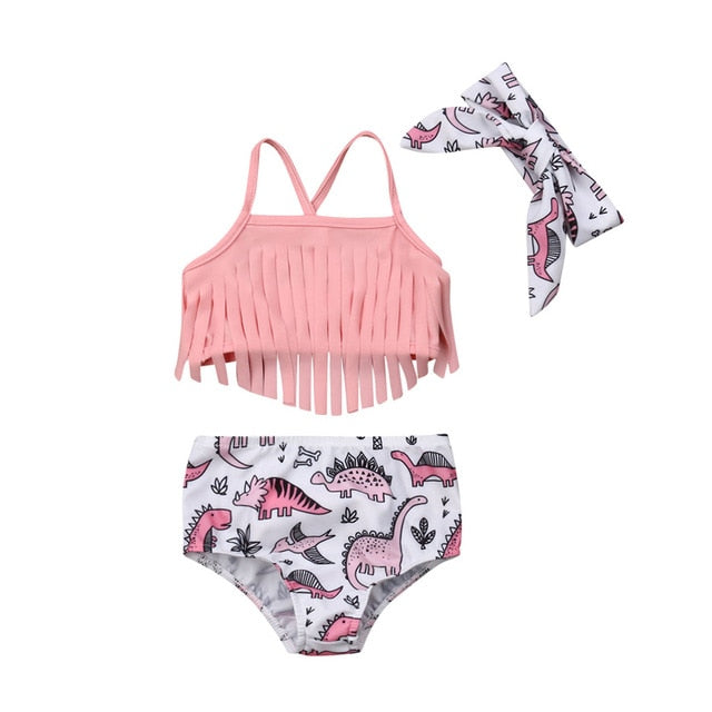 Baby Pink Dinosaur Fringe Swimsuit With Matching Headband - Swimsuits - baby-petite