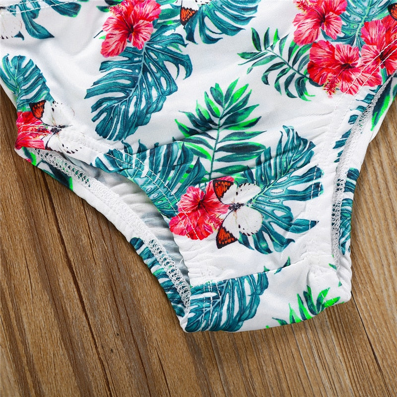 Isa Hibiscus Cold Shoulder Swimsuit - Swimsuits - baby-petite