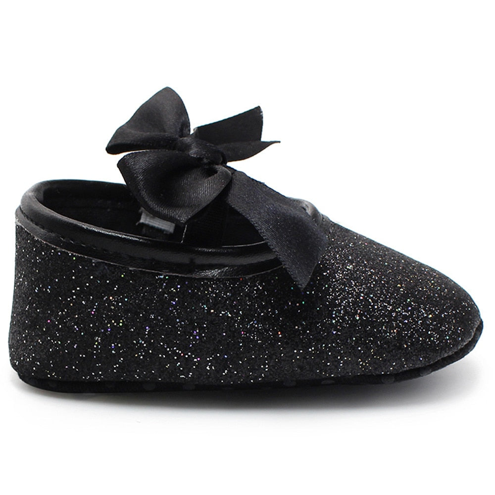 Black Glitter Sparkle Ribbon Shoes