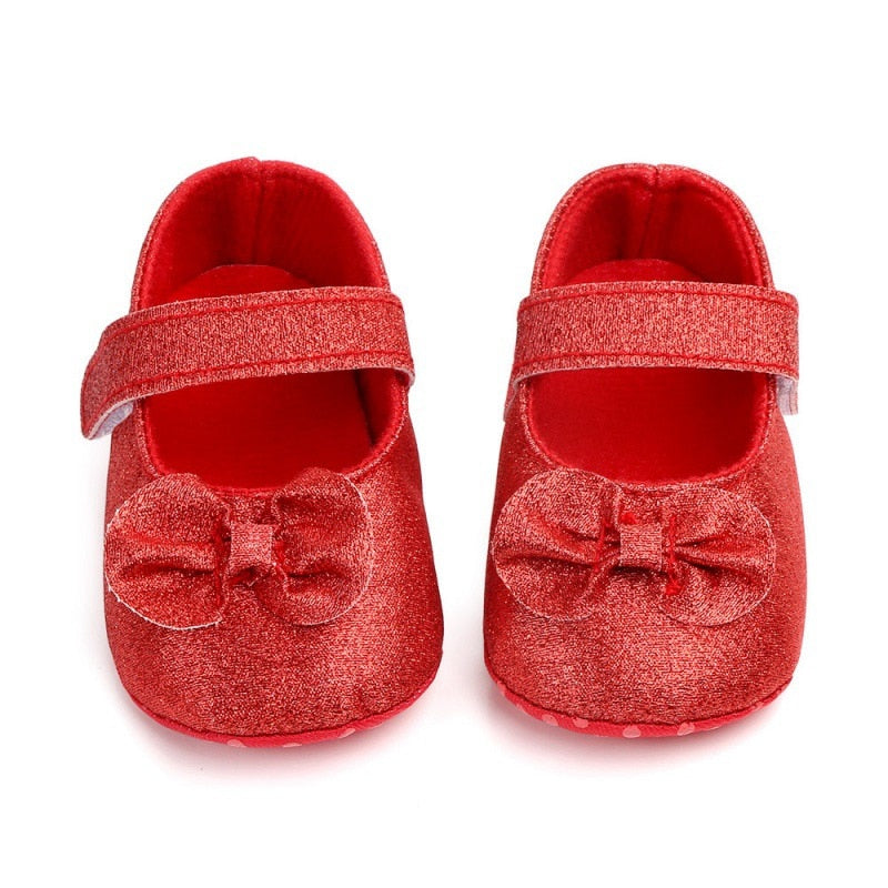 Asma Bow Strap On Glitter Shoes