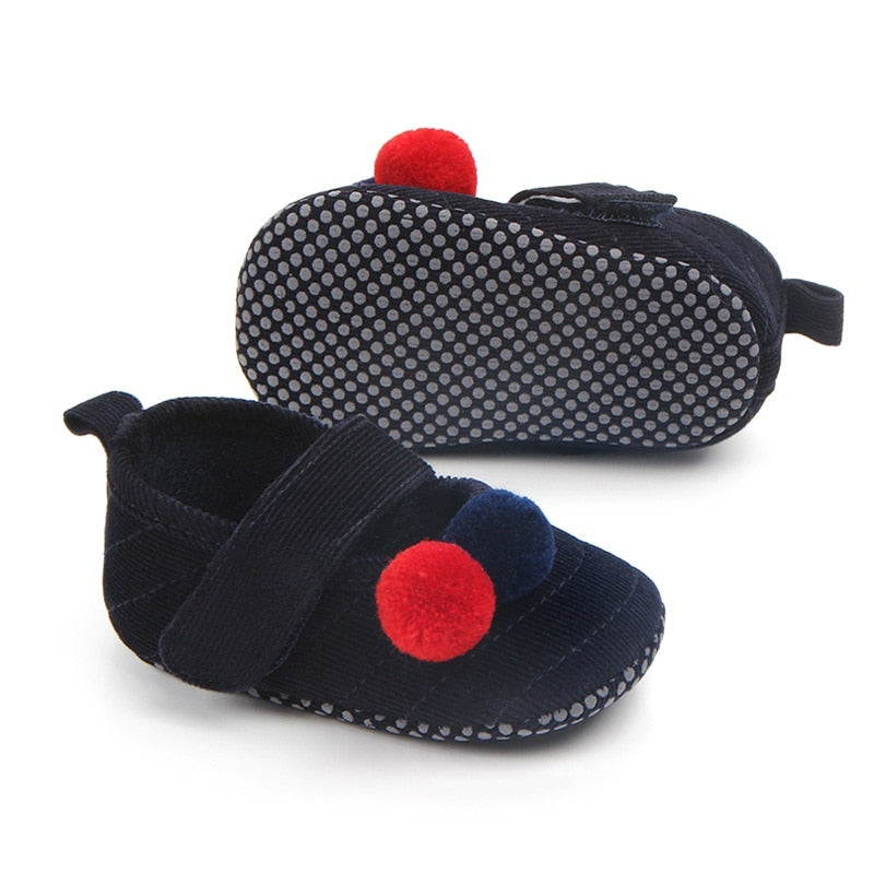 Cotton Pom Pom Strap On Shoes