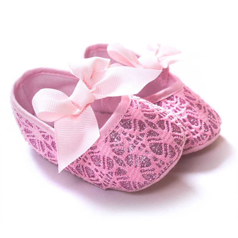 Golden Embroidery Pink Bow Slip On Shoes