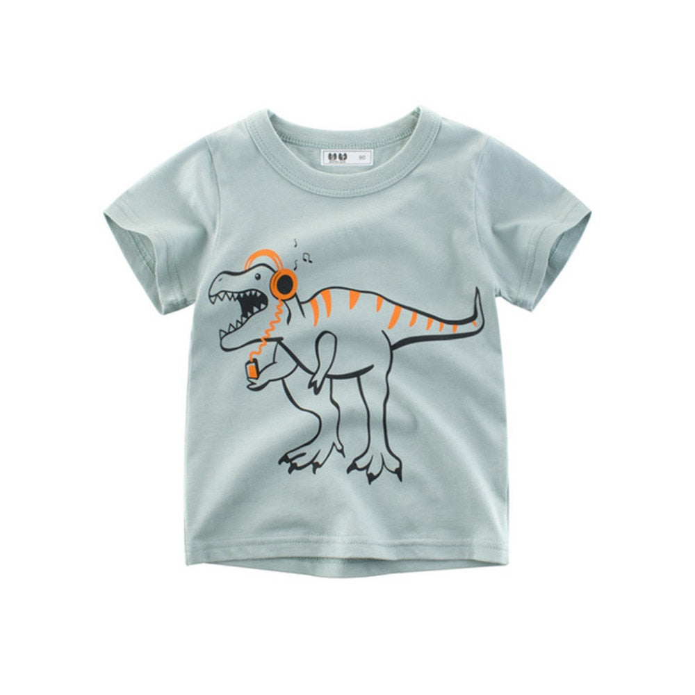 Dinosaur Music Lover Casual Cotton T-Shirt