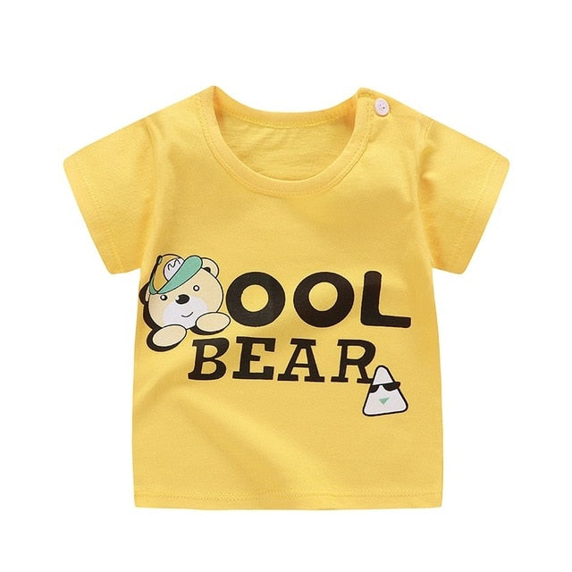 Cool Bear Soft Casual Cotton T-Shirt - Tops - baby-petite