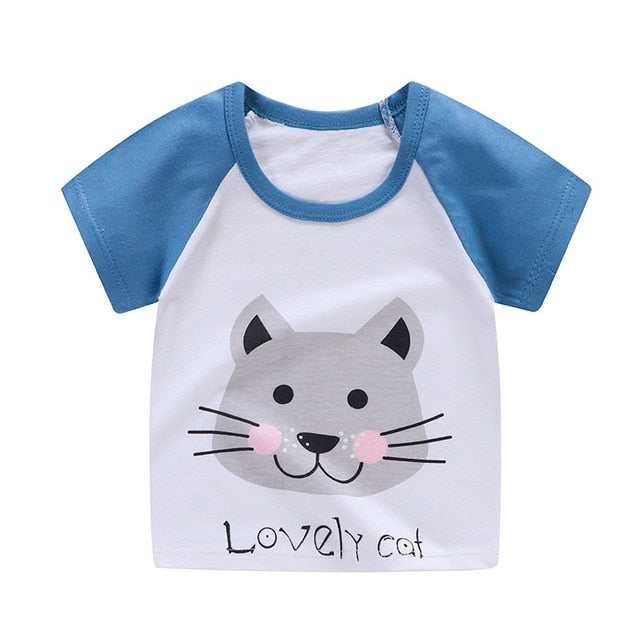 Lovely Kitty Cat Soft Casual Cotton T-Shirt - Tops - baby-petite