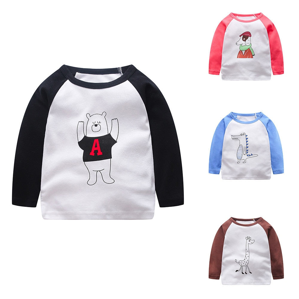 Doodle Animal Long Sleeve Cotton T-Shirt