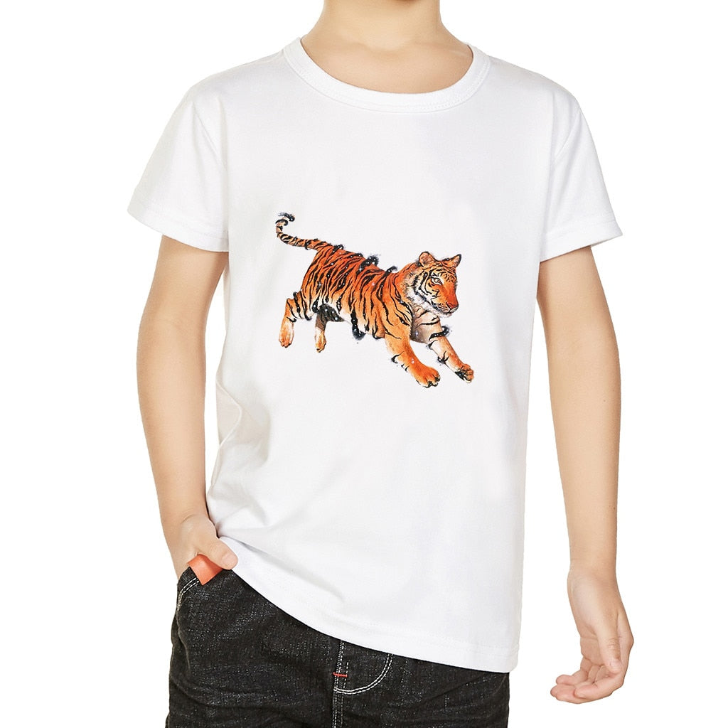 Wild Tiger Casual Basic Cotton T-Shirt