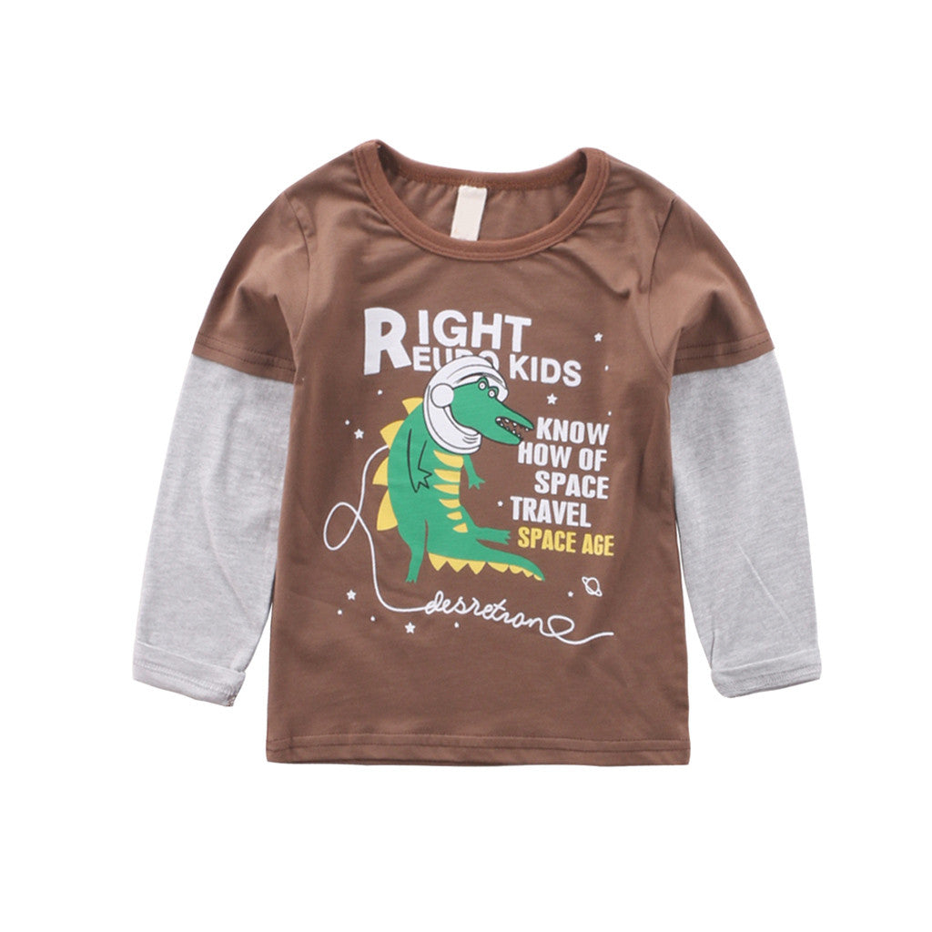 Space Alligator Long Sleeve Cotton T-Shirt