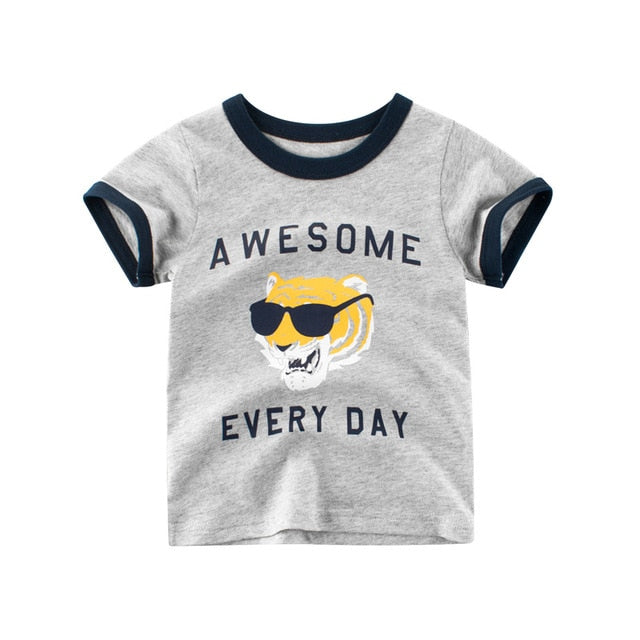 Awesome Everyday Tiger Casual Cotton T-Shirt - Tops - baby-petite