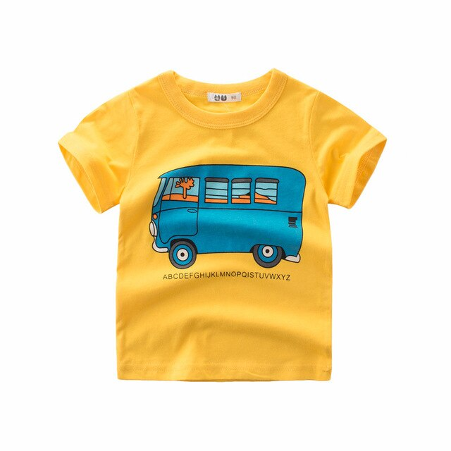 Yellow Summer Mini Van Casual Cotton T-Shirt - Tops - baby-petite