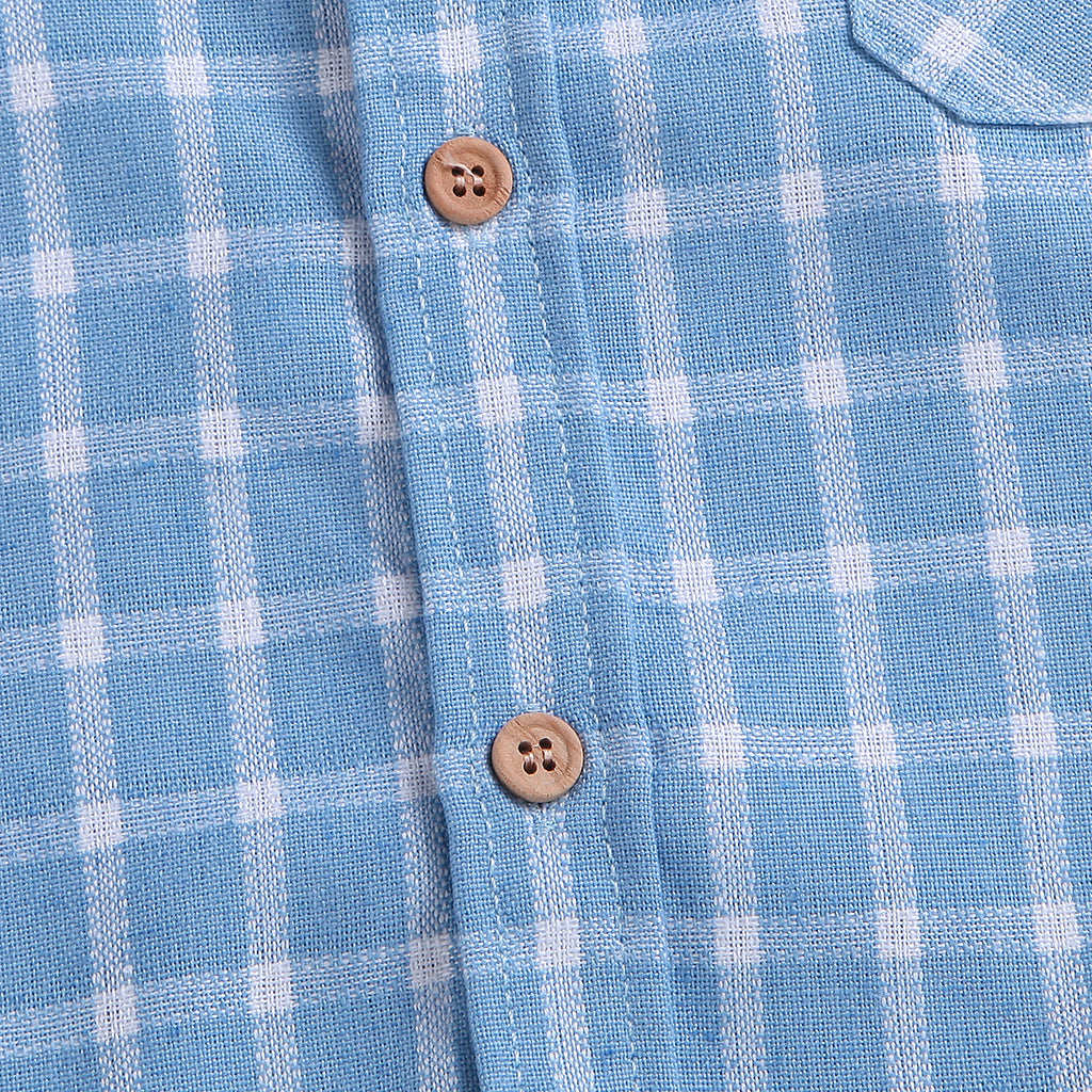 Baby Blue Button Up Plaid Shirt
