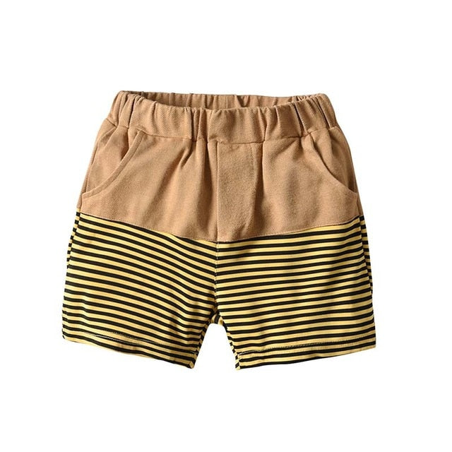 Brown Striped Bumble Bee Denim Shorts