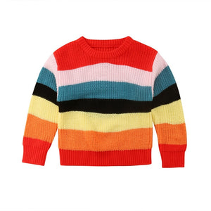 Rainbow Festival Striped Long Sleeve Sweater Top