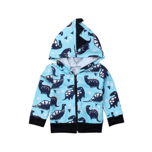 Magical Blue Dinosaurs Long Sleeve Hoodie Jacket