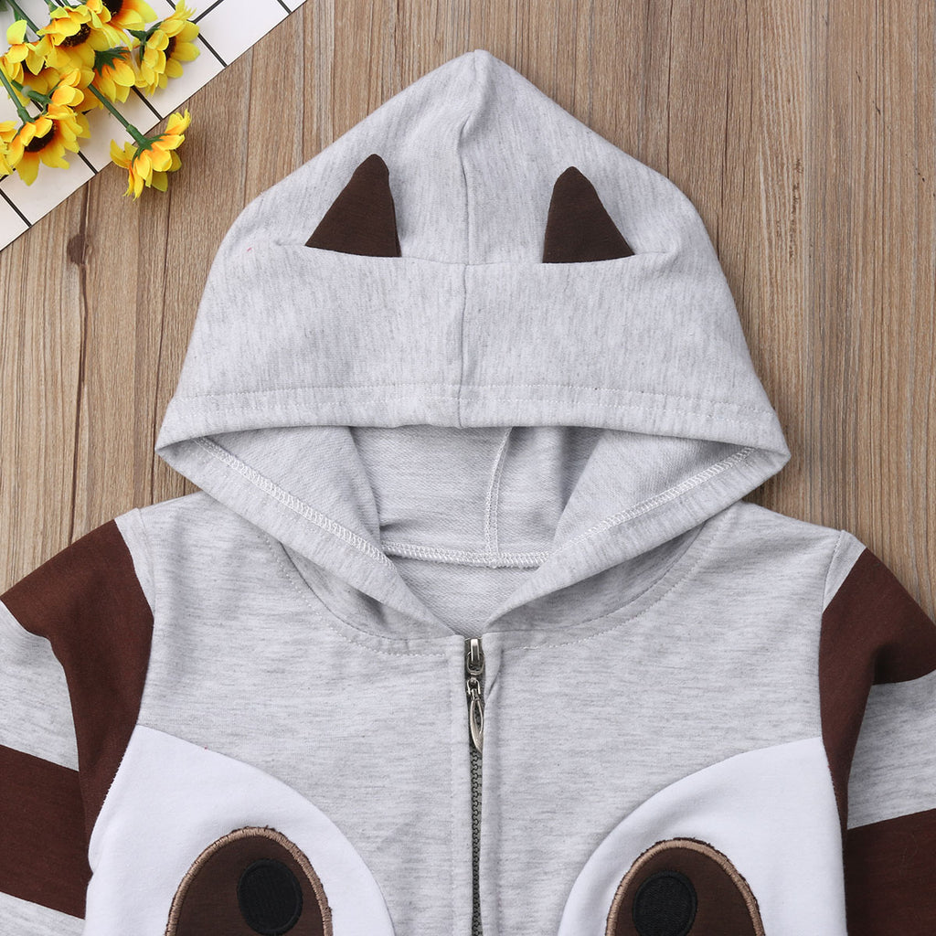 Striped Panda Long Sleeve Hoodie Jacket