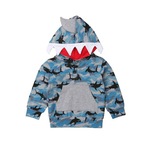 Camo Blue Shark Teeth Hoodie