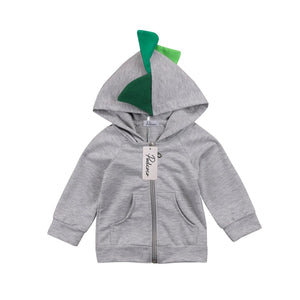 Cheeky Dinosaur Grey Long Sleeve Hoodie Jacket
