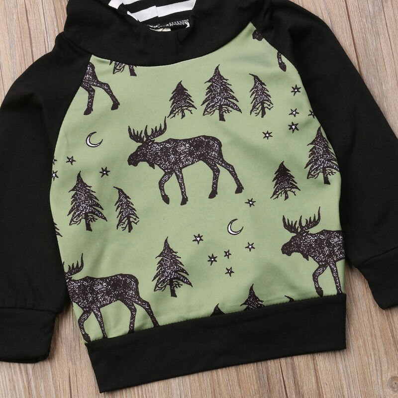 Winter Paradise Pine Moose Long Sleeve Christmas Hoodie