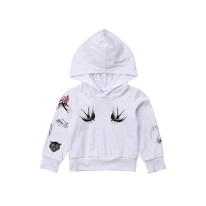 Swallow Bird Printed Long Sleeve Hooded Jacket