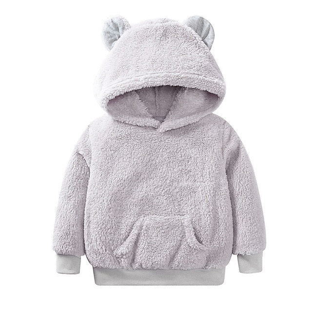 Fluffy Bear Ear Hooded Sweater