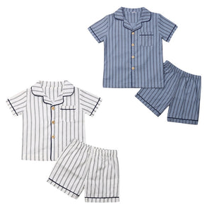 Two Piece Classic English Striped Button Up Pajamas