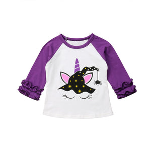 Purple Witch Unicorn Ruffle Sleeve T-Shirt