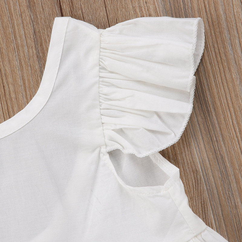 Dainty White Ruffle Sleeve Backless Top