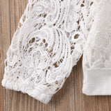 White Crochet Lace Long Sleeve Blouse Top