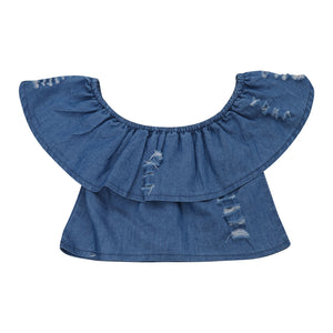Off Shoulder Distress Denim Top