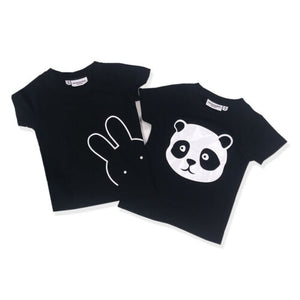 Hello Panda & Bunny Black T-Shirt