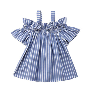 Cold Shoulder Blue Striped Ruffle Sleeve Flowy Blouse