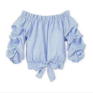 Off Shoulder Baby Blue Ruffle Blouse