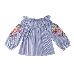 Off Shoulder Blue Striped Floral Embroidery Blouse