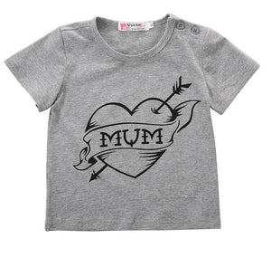 Hearts Only For Mum Grey T-Shirt