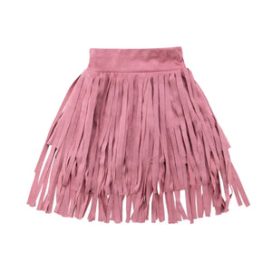 Country Girl Suede Fringe Skirt