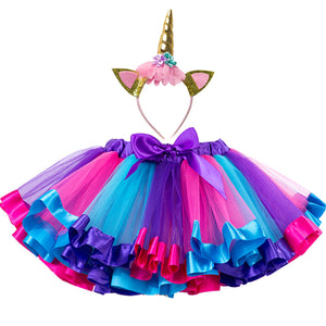 Princess Rainbow Fluffy Tulle Skirt With Matching Headband