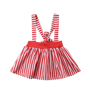 Red Striped Overall Casual Skirt