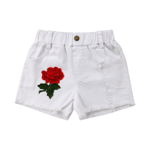 Rose Embroidery Off White Summer Short Denim Pants