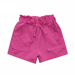 Bow Knot Stretchable Waist Pocket Solid Beach Shorts